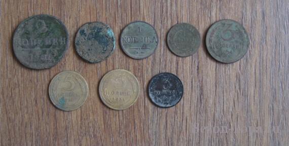 Монеты перед чисткой, аверс